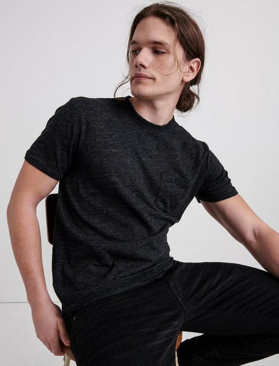 LINEN ONE POCKET TEE, #001 BLACK, productTileDesktop