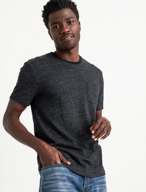 LINEN ONE POCKET TEE, #9059 CHARCOAL GREY