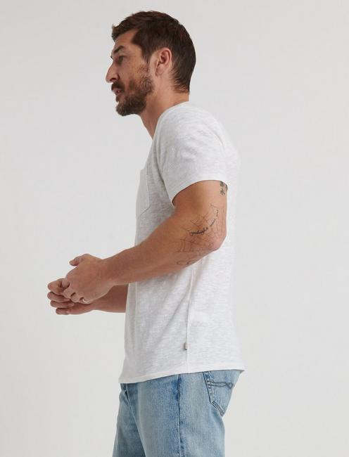 LINEN ONE POCKET TEE, BRIGHT WHITE