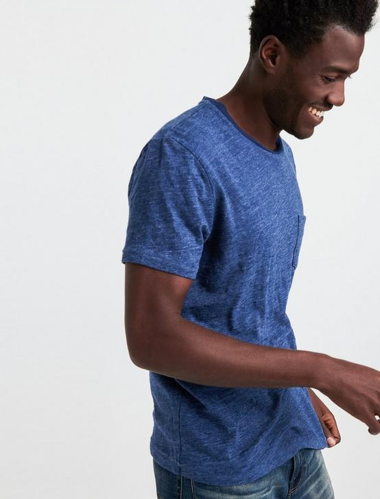LINEN ONE POCKET TEE, ESTATE BLUE, productTileDesktop