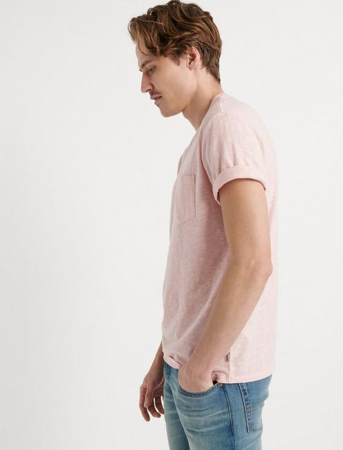 LINEN ONE POCKET TEE, LOTUS