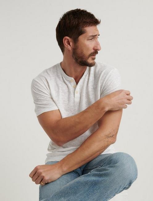 LINEN HENLEY, BRIGHT WHITE