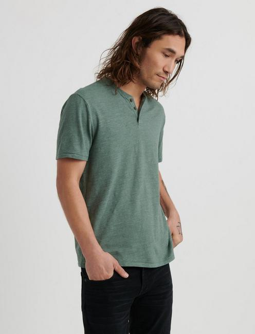LINEN HENLEY, LAUREL WREATH