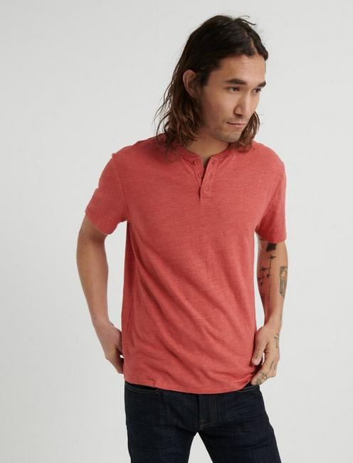 LINEN HENLEY, MINERAL RED