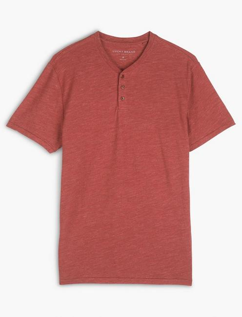 LINEN HENLEY, EARTH RED