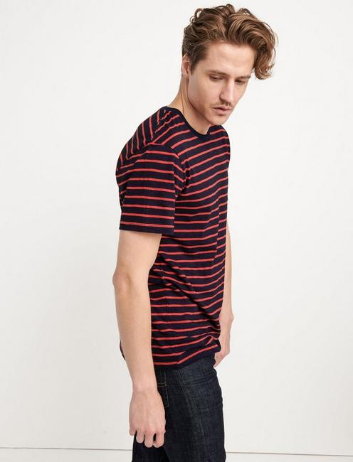 INDIGO STRIPE CREW NECK TEE, MULTI