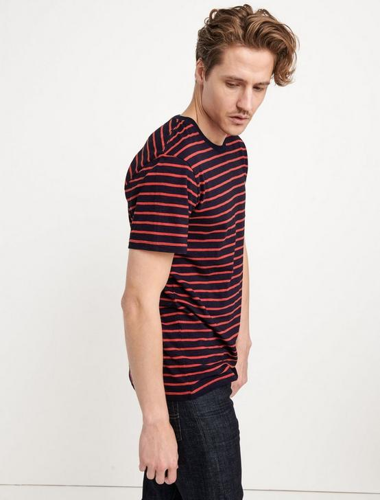 INDIGO STRIPE CREW NECK TEE, MULTI, productTileDesktop