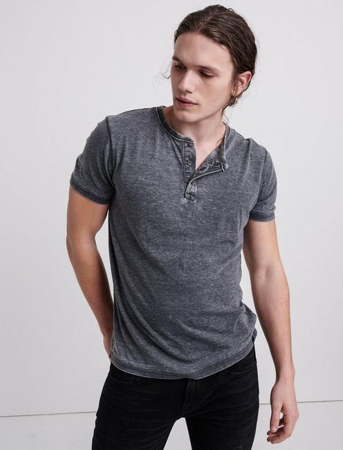 Venice Burnout Henley Shirt, JET BLACK