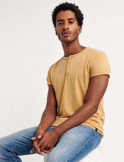 Venice Burnout Henley Shirt, DUSTY GOLD