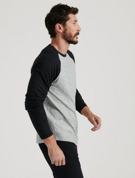 RAGLAN CREW DOUBLE KNIT, HEATHER GREY MULTI, productTileDesktop