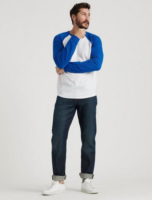 RAGLAN CREW DOUBLE KNIT, BLUE MULTI