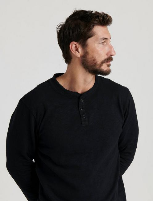 LONG SLEEVE SNAP HENLEY, JET BLACK