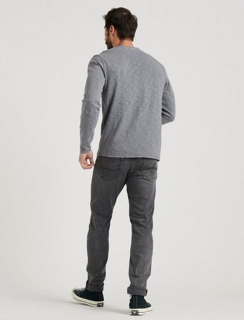 LONG SLEEVE SNAP HENLEY, FROST GREY