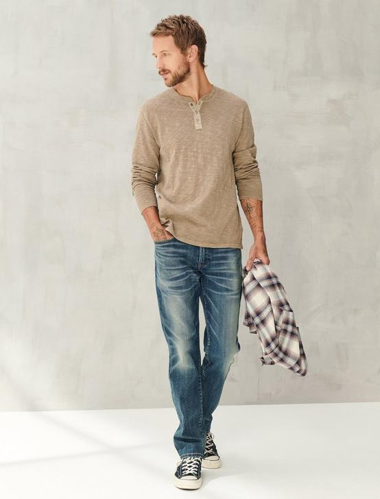 LONG SLEEVE SNAP HENLEY, #023 GRAVEL, productTileDesktop