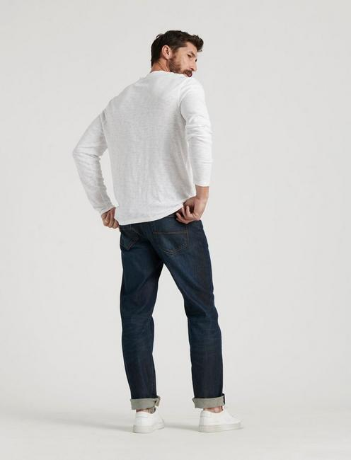 LONG SLEEVE SNAP HENLEY, BRIGHT WHITE