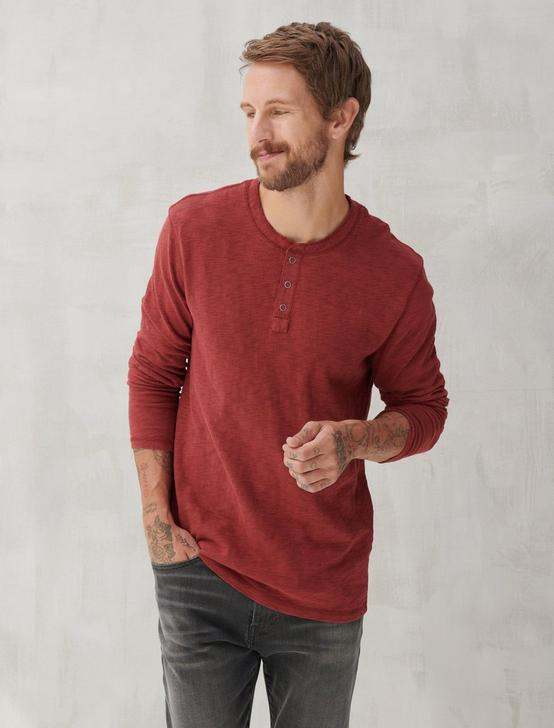LONG SLEEVE SNAP HENLEY, MADDER BROWN, productTileDesktop