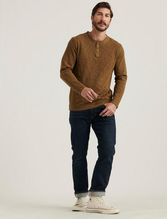 LONG SLEEVE SNAP HENLEY, TEAK, productTileDesktop