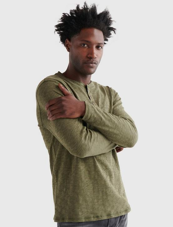 LONG SLEEVE SNAP HENLEY, OLIVE NIGHT, productTileDesktop