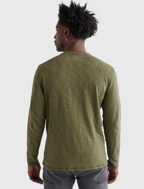 LONG SLEEVE SNAP HENLEY, OLIVE NIGHT