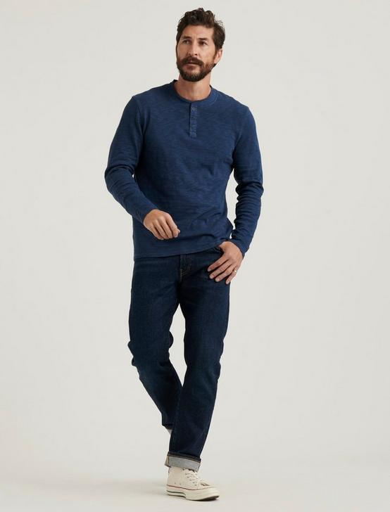 LONG SLEEVE SNAP HENLEY, MOOD INDIGO, productTileDesktop