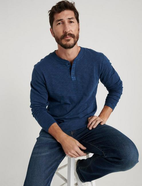 LONG SLEEVE SNAP HENLEY, MOOD INDIGO
