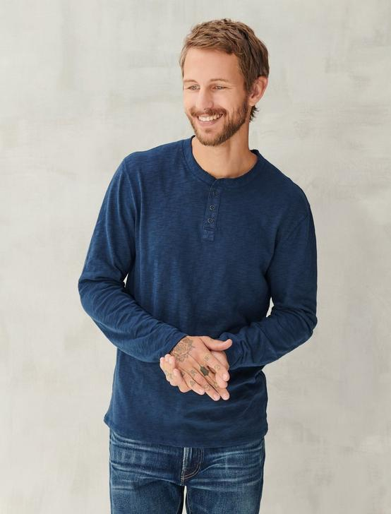 LONG SLEEVE SNAP HENLEY, BLACK IRIS, productTileDesktop