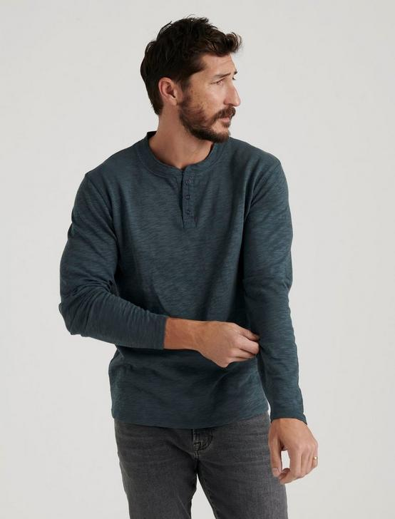 LONG SLEEVE SNAP HENLEY, DARK SLATE, productTileDesktop