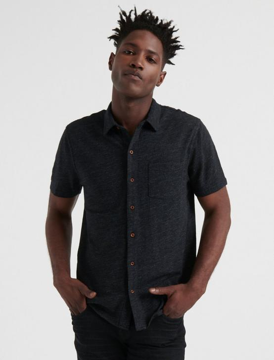 SHORT SLEEVE WASHED BUTTON UP, JET BLACK, productTileDesktop
