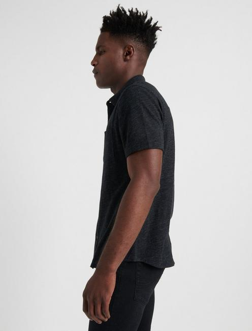 SHORT SLEEVE WASHED BUTTON UP, #001 BLACK