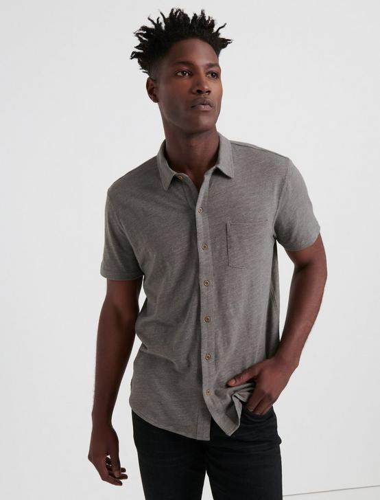 SHORT SLEEVE WASHED BUTTON UP, CHARCOAL GREY, productTileDesktop