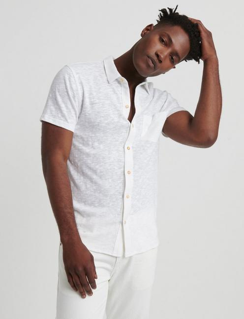SHORT SLEEVE WASHED BUTTON UP, BRIGHT WHITE