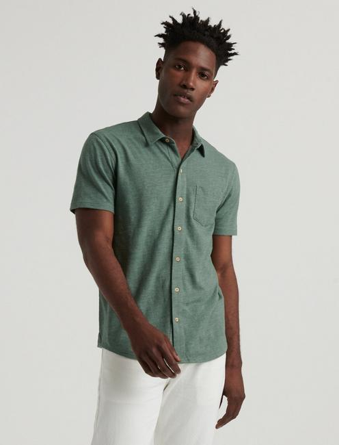 SHORT SLEEVE WASHED BUTTON UP, LAUREL WREATH