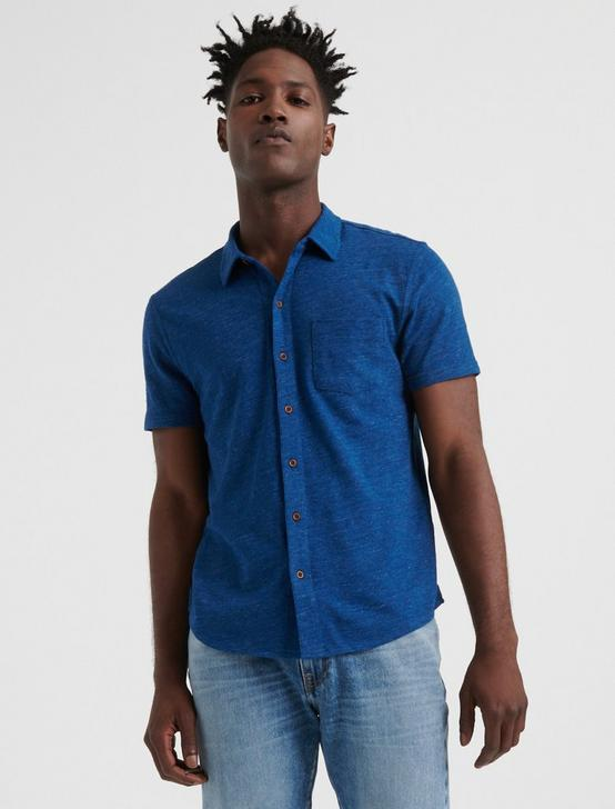 SHORT SLEEVE WASHED BUTTON UP, ESTATE BLUE, productTileDesktop