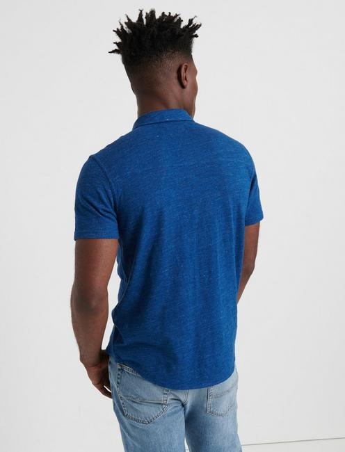 SHORT SLEEVE WASHED BUTTON UP, ESTATE BLUE