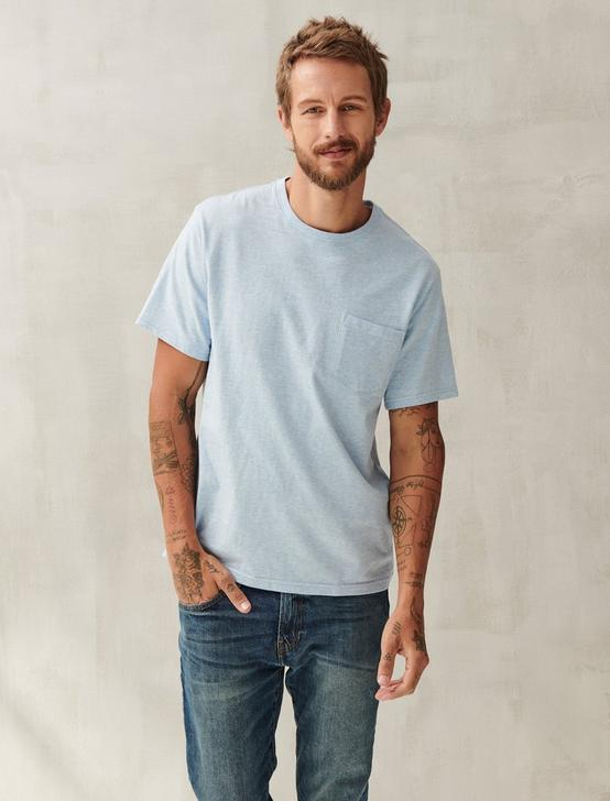 SUNSET POCKET TEE, HEATHER BLUE, productTileDesktop