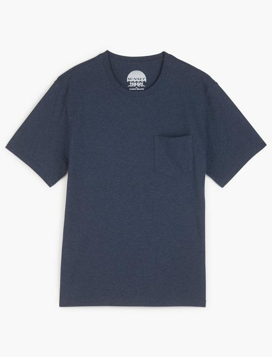 SUNSET POCKET TEE, HEATHER NAVY, productTileDesktop