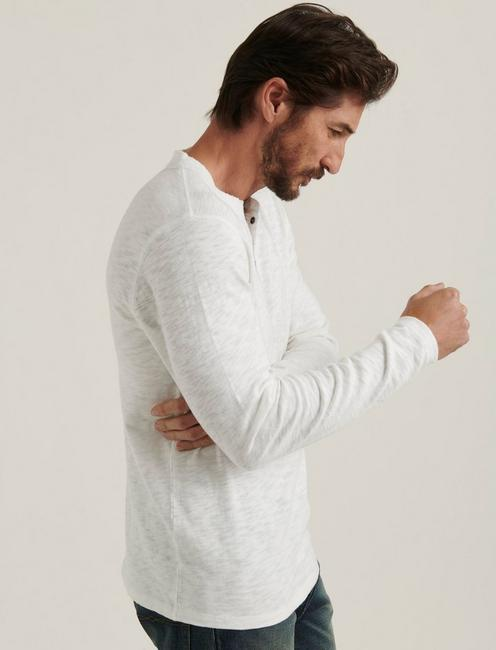 LONG SLEEVE HENLEY, BRIGHT WHITE