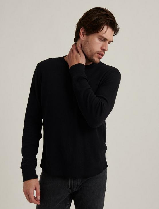 FRENCH RIB LONG SLEEVE CREW NECK, BLACK ONYX, productTileDesktop