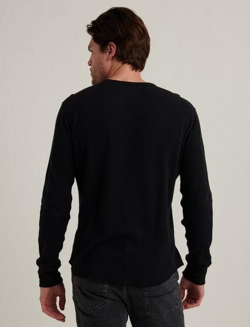 FRENCH RIB LONG SLEEVE CREW NECK, BLACK ONYX