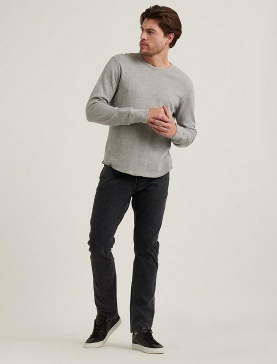 FRENCH RIB LONG SLEEVE CREW NECK, HEATHER GREY, productTileDesktop