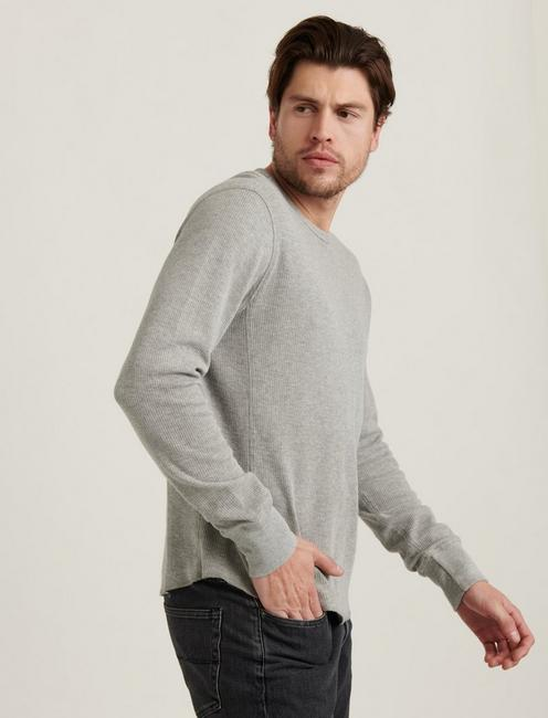 FRENCH RIB LONG SLEEVE CREW NECK, HEATHER GREY
