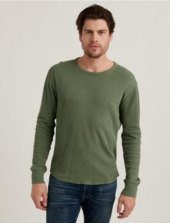 FRENCH RIB LONG SLEEVE CREW NECK, AGAVE GREEN, productTileDesktop