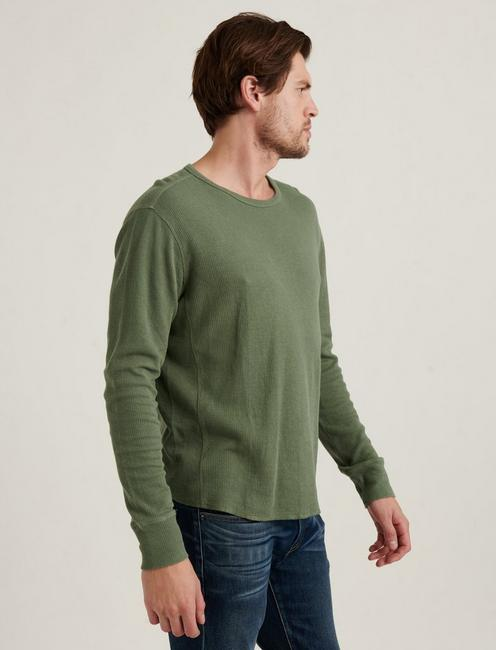 FRENCH RIB LONG SLEEVE CREW NECK, AGAVE GREEN