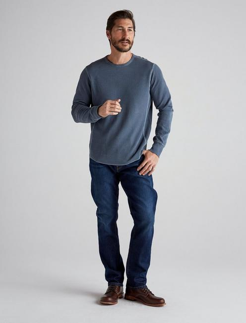 FRENCH RIB LONG SLEEVE CREW NECK, SLATE BLUE