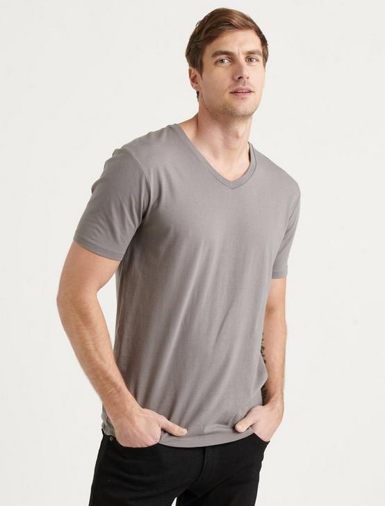 PIMA V-NECK, CHARCOAL GREY, productTileDesktop