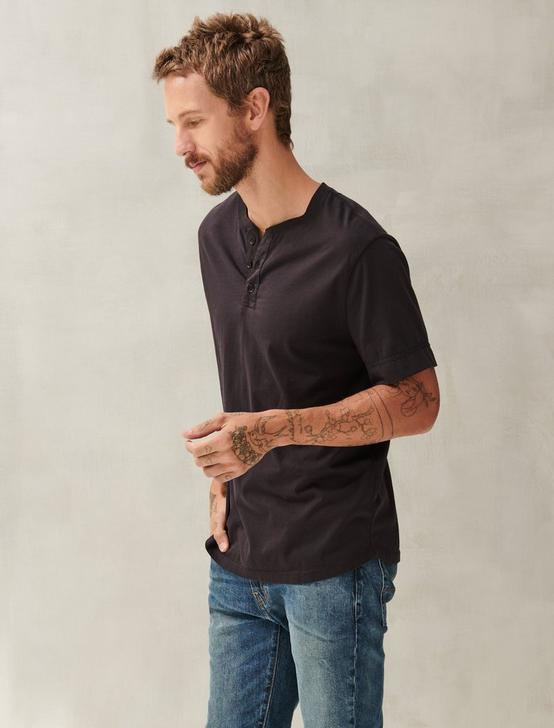 PIMA COTTON HENLEY, BLACK ONYX, productTileDesktop