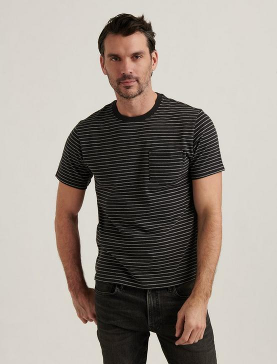 STRIPE POCKET TEE, BLACK MULTI, productTileDesktop