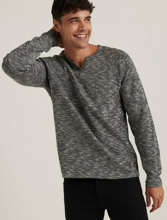 LONG SLEEVE COLORBLOCK BUTTON NOTCH, CHARCOAL, productTileDesktop