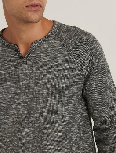 LONG SLEEVE COLORBLOCK BUTTON NOTCH, CHARCOAL