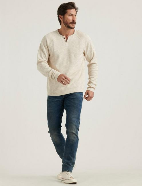 LONG SLEEVE COLORBLOCK BUTTON NOTCH, OATMEAL